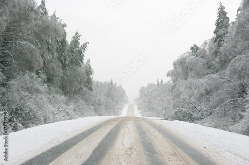 Photo Snowy winter road