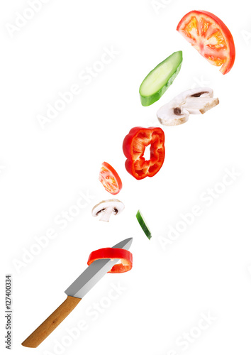 Poster Sushi bar Big chief knife with vegetables round