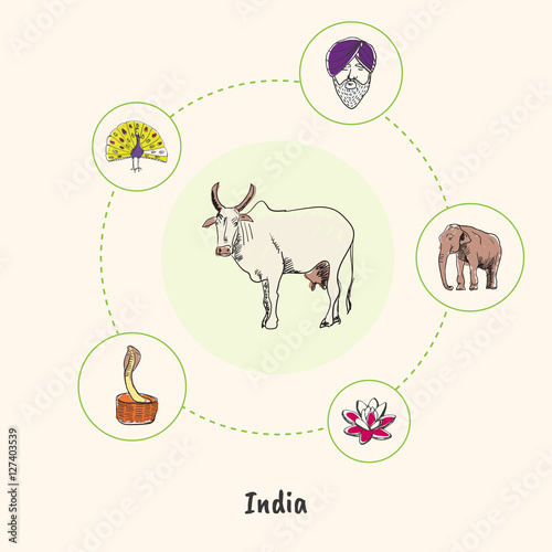 Attractive India White Cow Colorized Doodle Surrounded Elephant