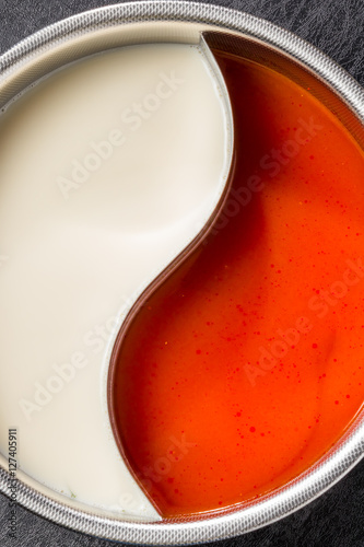 Plakat Chiński hotpot z dedykowanym puli Hotpot chiński negatywny i pozytywny