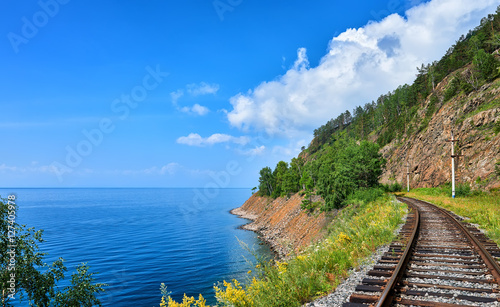 Plot Circum-Baikal railway near steep bank of Lake Baikal Canvas Print