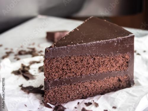 Plakat czekoladowe ciasto fudge, selektywne focus