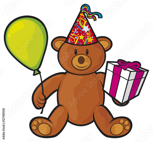 Fotobehang Beren teddy bear toy with gift box, birthday hat and balloon