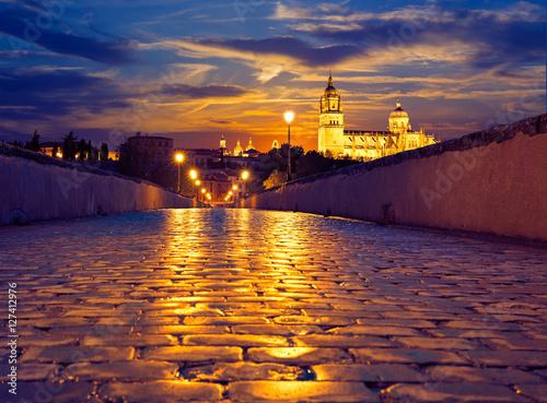 Salamanca sunset in roman bridge Tormes river