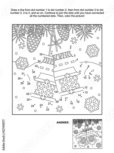 Winter New Year Or Christmas Themed Connect The Dots Picture Puzzle And Coloring Page With