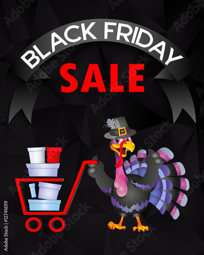 Poster Magie Thanksgiving turkey, Black Friday sales, purchases a sign, poster.
