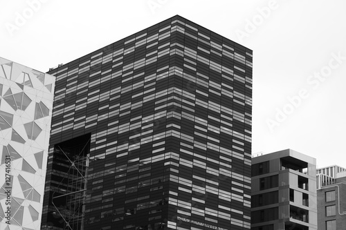 Photo  Black and white Oslo downtown buildings background