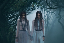 Two Mysterious Sexy Lady's With Long Black Hair, In Eerie They Woods Looking At You