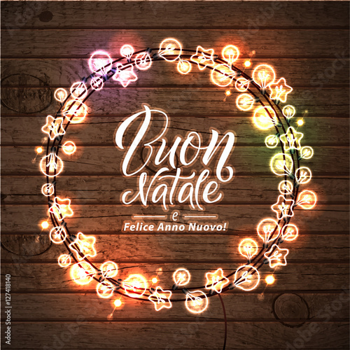 merry christmas and happy new year italian language glowing lights wreath for xmas holiday - How To Say Merry Christmas In Italian