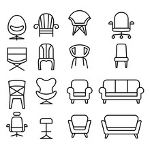 Chair Icon Set In Thin Line St...