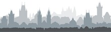 Cityscape Seamless Background. Vector Illustration Design - Prague City. Silhouette Of Old European Town.