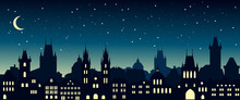 Cityscape In The European City At Night. Silhouette Of Prague. Vector Illustration For Website Or Banner. Travel Background.