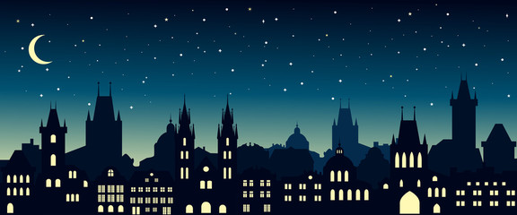 Panel Szklany Cityscape in the european city at night. Silhouette of Prague. Vector illustration for website or banner. Travel background.