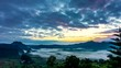 (4k) Time lapse, Landscape of Morning Mist with Mountain Layer at Phu Lanka National Park, Phayao province, north of Thailand.