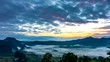 (4k) Time lapse, Landscape of Morning Mist with Mountain Layer at Phu Lanka National Park, Phayao province, north of Thailand. Camera Pan