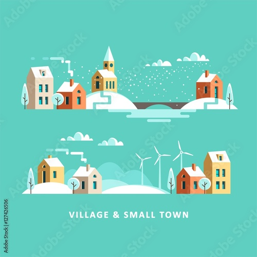 Cadres-photo bureau Vert corail Village. Small town. Rural and urban winter landscape. Vector flat illustration.