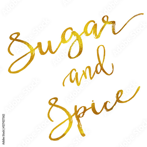 Sugar and Spice Gold Faux Foil Metallic Motivational Quote Canvas