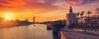 Leinwandbild Motiv Seville sunset skyline torre del Oro in Sevilla