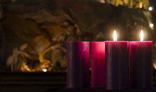 Advent Candles And Creche Week 2