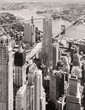 Black and white aerial view of downtown New York City