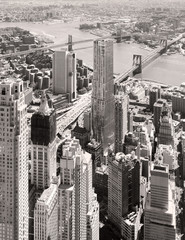 Panel Szklany Współczesny Black and white aerial view of downtown New York City