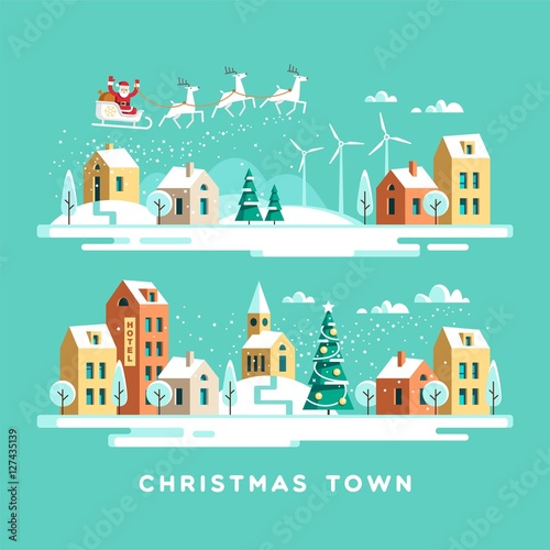 Poster Turquoise Santa Claus with deers in sky above the town. Christmas city. Vector illustration.