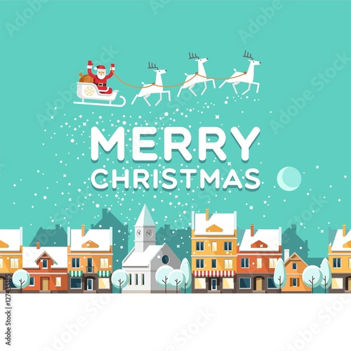 Wall Murals Green coral Snowy street. Urban winter landscape. Santa Claus with deers in sky above the town. Christmas city. Vector illustration.