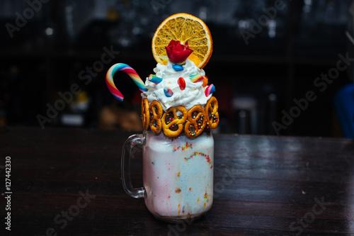 Foto op Aluminium Milkshake sweet milk shake with cream