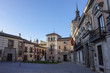 Plaza de La Villa with unidentified people in the old town of Madrid is probably the oldest civil square dating back to 15th century. Madrid
