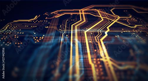 Fotografía  Orange and green technology background/Orange and green technology background ci