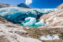 Water Flows Under The Aletsch Glacier, Which Melts