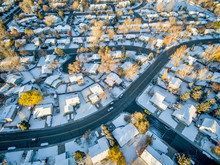 Fort Collins Cityscape With Snow