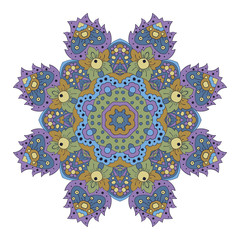 Mandala. Zentangl round ornament. Relax, meditation. Blue, green and purple Colors