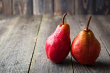 Red Sweet Juicy Pears On A Dar...