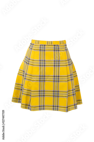 Photo  Plaid skirt isolated on white background