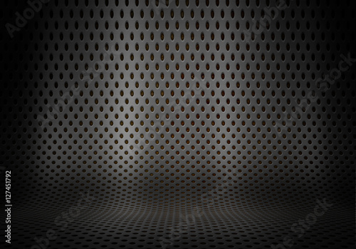Fototapeta  Prresentation background with curved perforated metal