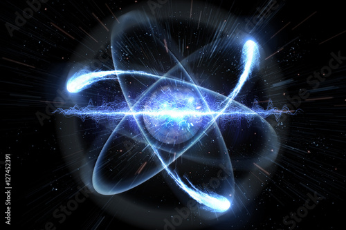 Fotomural  Atomic Particle 3D Illustration