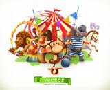 Fototapeta Fototapety na ścianę do pokoju dziecięcego - Circus, funny animals. Monkey, lion, horse, hippo. 3d vector