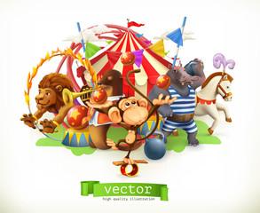 Cyrk, śmieszne zwierzęta. Małpa, lew, koń, hipopotam. Wektor 3d