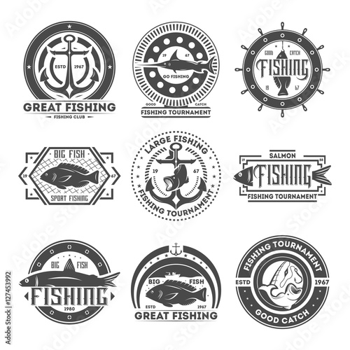 Recess Fitting Retro Fishing tournament vintage isolated label set
