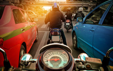 Behind The Wheel Of The Motorcycle In The City