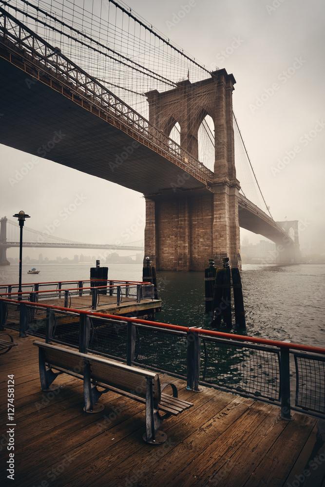 poster quadro brooklyn bridge em. Black Bedroom Furniture Sets. Home Design Ideas