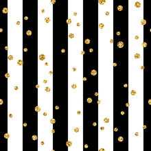Gold Polka Dot On Lines Seamless Pattern Background. Golden Foil Confetti. Black And White Stripes. Christmas Glitter Design Decoration For Card, Wallpaper, Wrapping, Textile. Vector Illustration