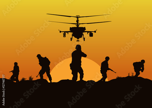 Poster de jardin Militaire Illustration, the soldiers going to attack and helicopters.