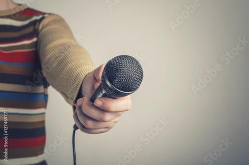 Vászonkép Man Interviews. Selective focus.