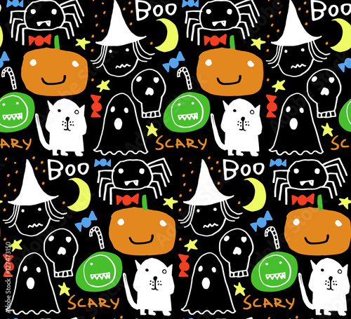 Cotton fabric Seamless Halloween pattern for card, flayer, banner, poster templates. Hand drawn traditional symbols, cute design elements, handwritten ink lettering. Made in the technique of hand drawing.