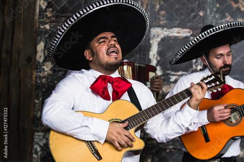 Fotografie, Obraz  Mexican musicians in the studio, in the interior