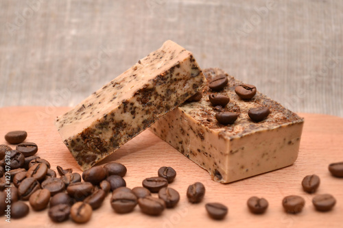 Handmade coffee natural soap on wooden background Wallpaper Mural