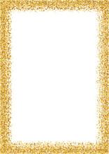 Golden Glitter Frame A4 Format Size. Glittering Sparkle Frame On White Vector Background.