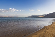 Sea Of Galilee With The Mountains Of Jordan On The Horizon, Israel